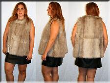 New Beige Rabbit Fur Vest Size Medium 6 8 M Efurs4less