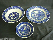 Vintage  ROYAL CHINA BLUE WILLOW WARE VEGETABLE BOWL PLATE COFFEE CUP SAUCER
