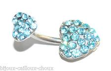 Piercing de nombril acier chirurgical banane double coeur cristal bleu bijou