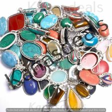 Turquoise & Mix 50pcs Wholesale Lot 925 Sterling Silver Plated Handmade Pendants
