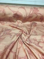 BEAUTIFUL SALMON FLORAL SUMMER PRINT CURTAIN FABRIC 20 METRES