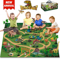 HOMOFY Dinosaur Toys Activity Playset Mat 9 Dinosaur Figures,Trees for Creating