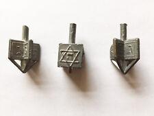 """Set of 3 Antique Cast Lead Miniature Hanukkah Dreidels Each 1/2"""" X 1"""""""