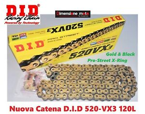 Catena DID 520VX3 120-Maglie Gold&Black per HUSQVARNA SM-R 511 dal 2011 >2012