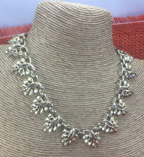 Vintage Necklace Coro Goldtone Cast Metal piercedwork Leaf Adjustable Choker