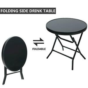Black Glass Top Side Table Garden Furniture Patio Rattan Foldable Drinks Coffee
