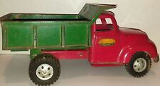 VINTAGE 1950'S TONKA TOYS RED & GREEN DUMP TRUCK GREAT CONDITION ORIGINAL PAINT