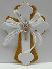 10 First Communion-Baptism Cross glitter Foam for Center Piece Gold-white-Bautiz