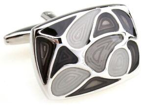Cufflinks.Direct Shades of Grey Gray Modern Enamel Rectangle Cufflinks