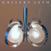 MID CENTURY MODERNIST SCIOLARI CHANDELIER! CHROME GAETANO LAMP ITALY ATOMIC 60'S
