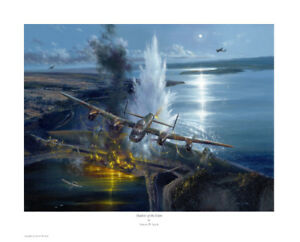 'OPERATION CHASTISE, SHADOW OF THE DAM', Dambusters, Lancaster, artist signed