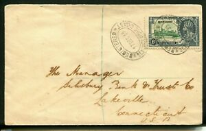 1935 Silver Jubilee Gold Coast 6d on a commercial registered cover to USA