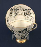 Mid-Century Modern Clarence bone china cup & saucer England c.1950+ Black White