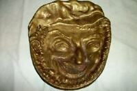 ANTIQUE ENGLISH BRASS CHARACTER FACE TRAY DRUNK ENGLAND G. MINNE VERY DETAILED