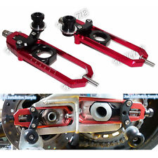 Rear Wheel Chain Adjuster with Swingarm Spools Red Fit BMW S1000RR HP4 S1000R US