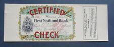 Original Old Vintage - CERTIFIED CHECK - CIGAR Can LABEL - Bank Check