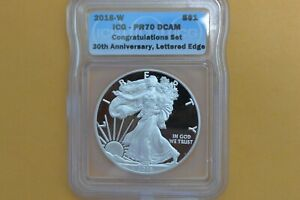 2016 W  SILVER EAGLE ICG PR70 DCAM  CONGRATULATIONS SET 30TH ANN LETTERED EDGE