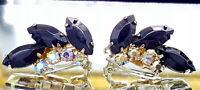 Vintage Black and aurora borealis glass clip earrings. A20.