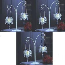 3 Candelabra Chandelier Distressed White Wedding Centerpieces - Set