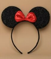 x1 BLACK SEQUIN SPARKLY GLITTER MOUSE EARS WITH RED BOW - HEN FANCY DRESS