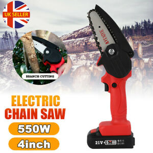 Wireless Cordless Electric Chain Saw Wood Cutter One-Hand Woodworking w/ Battery
