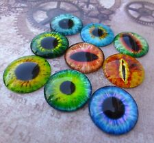 10 pcs  Glass Domed Round eye cabochon, eyes cabochons, mix pattern, size 25 mm