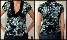 women's size S (UK 8-10) black & green floral top blouse t-shirt 92% Polyester 7