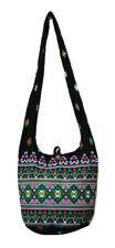 SALE Thai Hippie Hobo Sling Shoulder Crossbody Bag Purse Black Ethnic Zip M1292