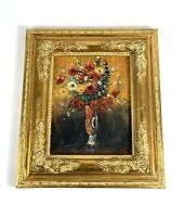 Vintage Gold Ornate Picture Frame With original Vase Of Flowers Oil Painting