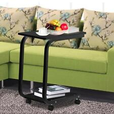 Sofa Side Table Tray End Table Slide Under Couch with Wheels Laptop Snack Wood