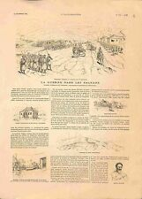 Guerre des Balkans Maison Roi Milan Tsaribrod Dimitrovgrad Bulgarie GRAVURE 1885