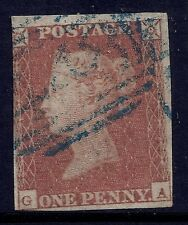 1841 GB SG8p QV 1d PENNY RED USED WITH BLUE CANCEL LETTERS 'GA'