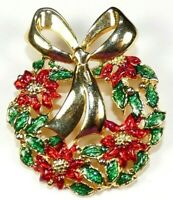 Vintage Christmas Wreath Brooch Enamel Poinsettia Ribbon Bow Signed Danecraft