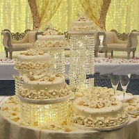 4pcs Lot LED Transparent Acrylic Birthday Wedding Cake Stand Decoration Set