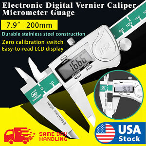 200mm Stainless Steel Electronic Digital Vernier Caliper Micrometer Guage in Box