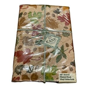 """KANE Autum Fall Leaves Round 60"""" Flannel Back Vinyl Tablecloth Red Brown"""