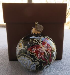 """Jay Strongwater Artisan Butterfly Nouveau Black Glass 3"""" Ball Ornament New w Box"""