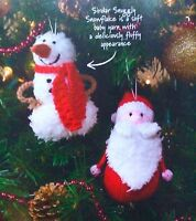 KNITTING PATTERN Snowman & Santa Christmas Tree Decoration Sirdar PATTERN