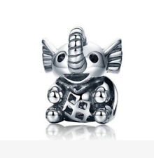 4PCS Elephant Charm Big Hole Beads fit European Silver Bracelet