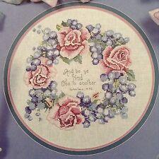 Rose & Grape wreath counted cross stitch magazine pattern, fabric & floss lot