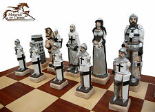 "EXCLUSIVE ""GRUNWALD"" MARBLE CHESS SET 60 x 60 cm - BEAUTIFUL HAND PAINTED PIECES"
