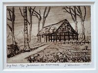 Gerhard LEHMANN (21.10.1934) Original Radierung # 14/15 GERÄTEHAUS BEI WORPSWEDE
