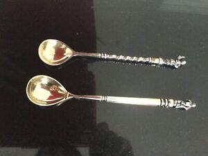 2 antike Löffel, Punze 84, 875 Silber, 76 Gramm, RUSSLAND, 1x datiert 1880