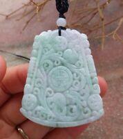Certified Green Natural A Jade jadeite Pendant Dragon Longevity Ruyi 龙长寿牌 518520
