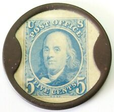 Advertising Encased Stamp 5 Cents Franklin Ca Brownell Numismatics Postage Piece