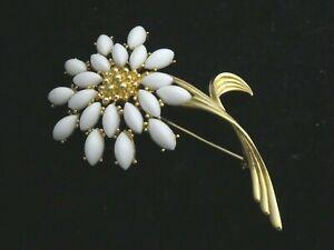 Limited Edition TRifari TM Signed Goldtone & White Navette Stone Flower BROOCH