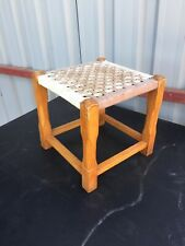 Vintage Old Traditional Foot Stool String Weave Top 1/6/X/LB