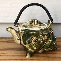 VINTAGE SEASHELL TEA POT POTTERY (not souvenir) Irridescent CONCH SHABBY CHIC