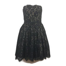 $99 Robert Rodriguez Womens Party Dress 6 Black Tan Lace Strapless Cocktail Prom