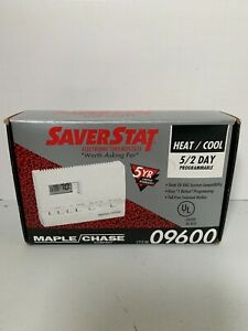 New in Box!!! Saver Stat 09600 Digital Programmable Maple Chase Thermostat.